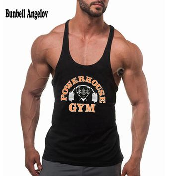 Bunbell Angelov Golds Gyms Tank Top Men Bodybuilding Fitness Men Powerhouse Singlet Muscle Cotton Workout Clothing