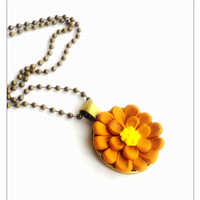 Orange Flower Pendant Necklace, Polymer Clay Jewelry, Flower Pendant, December Gift, Stocking Stuffer, Ball Chain Necklace, Christmas Sale