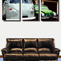 Volkswagen Car and Van 3 Canvas Acrylic Popart Painting (Preview -  On the Wall)