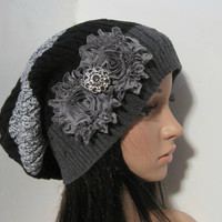 Black White and Grey Striped Recycled Sweater Slouch Beanie With Choice of Chiffon Flowers with Smokey Grey Accent Winter Hats Sweater Hats