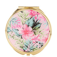 Tropical Floral Mirror Compact