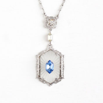 Antique Art Deco Sterling Silver Camphor Glass Necklace - Vintage 1920s White Frosted Glass & Blue Rhinestone Lavalier Pendant PSCO Jewelry