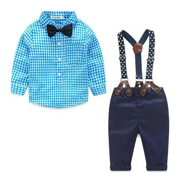 Kimocat 2017 summer Baby Boy Clothing Sets Childrens suit cotton Baby Boys Long Sleeve Plaids Shirt+Suspenders Pants+bow tie Set