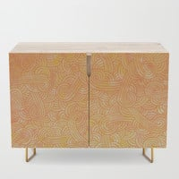 Yellow and orange swirls doodles Credenza by savousepate
