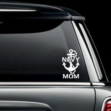 Navy Mom Anchor Vinyl Bumper Sticker Decal