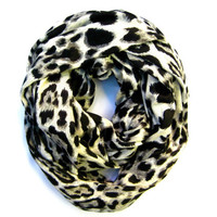 Infinity Scarf Leopard Scarf Double Loop Scarf Eternity Scarf Warm Cozy Scarf Winter Scarf Cream Black Grey Gift Idea Ready to Ship
