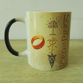 The Lord of the Rings  Map Color Changing Magic black heat sensitive Coffee Mug Tea cups Dropshipping