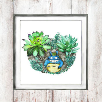 Vintage Botanical Watercolor Print green succulent plant set Totoro  wall decor home decor valentine's day  watercolor art digital download