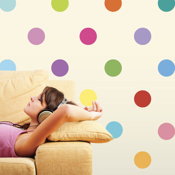 Wall Decals 16 Colors Polka Dot Fabric Wall Stickers