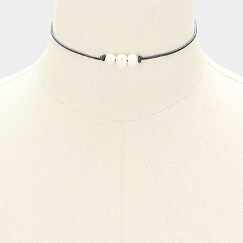 White Freshwater Triple Pearl Black Genuine Leather Cord Choker Necklace 316972
