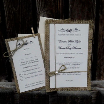Rustic wedding invitation with burlap embellishment shabby chic invitation country wedding invitation rustic wedding invitation