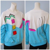 Vintage 1980's Geometric Shape Sweatshirt Activewear Top Tail Athletic Retro Size Medium Blue and White Colorful Pattern Sweatshirt Squares