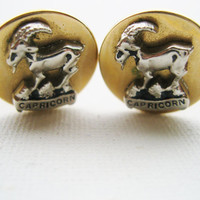 Father's Day Gift, Gift for Dad, Swank Cufflinks Designer Signed Capricorn The Goat Cuff Links Vintage 1950s Vintage Zodiac Collection