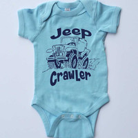 "Baby Onesuit-""Jeep Crawler""-Baby Boy Outfit-Blue Boy Onesuit bodysuit-Baby gift"