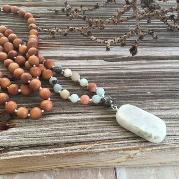Sandalwood Necklace, Mala Beads, Yoga Jewelry, Bohemian Style Necklace, Amazonite Necklace, Beach Jewelry, Casual Necklace