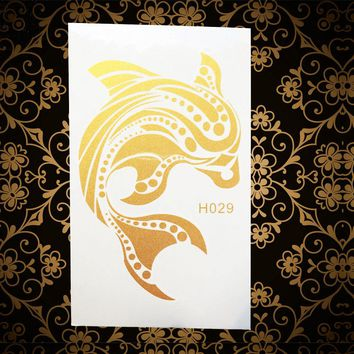 Gold Dolphins Metallic Temporary Tattoo Stickers Women Body Art Arm Legs Shoulder Tattoo Sticker AGH029 Fake Flash Tatoos