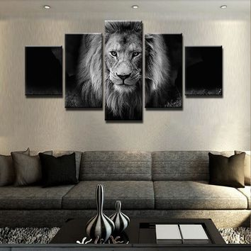 Lion Black White Animal Wall Art on Canvas Print Poster Living Room Wall Decor