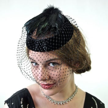 1950's Black Velvet Ring Hat with Feathers and Netting Whimsy