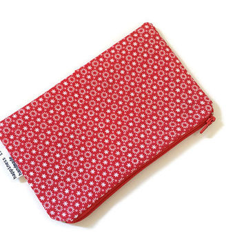 Red Floral Zipper Pouch - Pencil Case - Small Cosmetic Bag - Gift for Her - Makeup Bag - Cute Pouch - Floral Zipper Wallet - Red and White