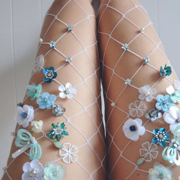 Mint Flowery Fishnet Tights