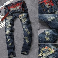 Destroyed Dark Wash Skinny Jeans