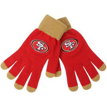 San Francisco SF 49ers Stretch Knit Gloves with Texting Tips NFL