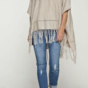Ania Fringe Light Weight Lovestitch Poncho - tan