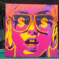 Pop art woman painting,canvas,stencil art,spray paint art,sunglasses,pink,yellow,earings,abstract,portrait,girl,home living,artwork,design