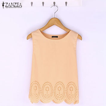 2017 Summer Fashion Women Cropped Top Chiffon Tank Hollow Out Sleeveless Vest Plus Size Ladies Casual Blusa Feminina 6 Colors