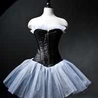 Custom small black and silver sparkle tulle corset prom dress available in Small -XL