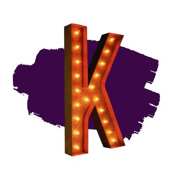 """36"""" Letter K Lighted Vintage Marquee Letters (Rustic)"""