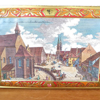 Huge Schmidt Lebkuchen cookie tin, historic cookie chest representing Nurnburg-Prospect