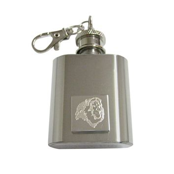 Silver Toned Etched Side Facing Lion Head 1 Oz. Stainless Steel Key Chain Flask