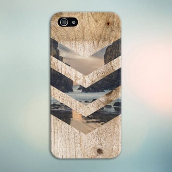 Tropical Beach Rock Cove Chevron Brown Wood Phone Case Nature Galaxy s7 Case, Tough Case iPhone 6, Samsung Note 5 Case Escape iPhone 6s Plus