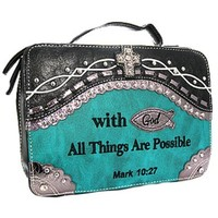 With God All Things Are Possible Mark 10:27 Rhinestone Cross Bible Cover (Turquoise)