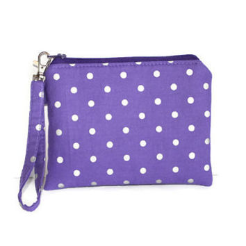 Purple and silver pouch, padded zipper pouch, wristlet, cell phone pouch, gadget case, makeup case, purse organizer, silver polka dot.