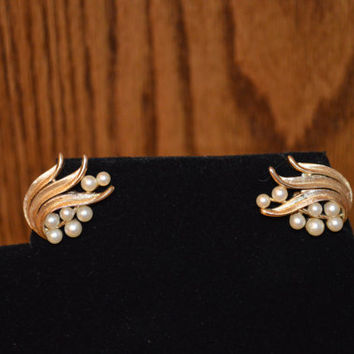 Trifari Vintage Crown earrings with faux pearls