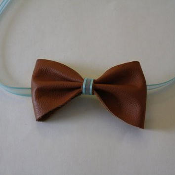 Handmade Brown and Aqua Leather 2 in 1 Headband or Bow tie made to order, Tiffany Blue and Leather Headband Bow tie