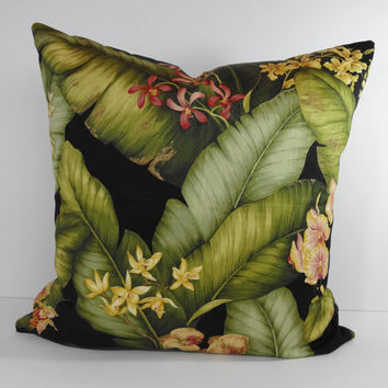 Tommy Bahama Designer Tropical Pillow Cover, Decorative Throw Pillow Cushion, Green, Black, Palms, 20 x 20