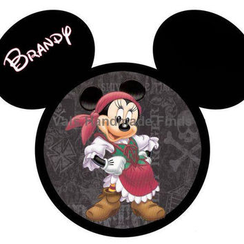 Crossbones Pirate Minnie Mouse Head Disney World Personalized w/ Name/Date Printable Iron On Transfer DIY Instant Download