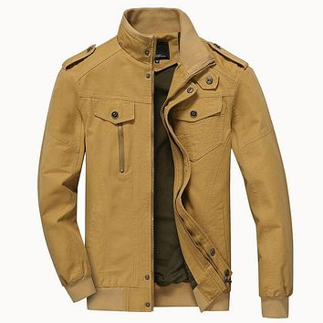 Men's Cotton & Polyester Military Bomber Jacket