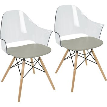 Tonic Flair Mid-Century Modern Dining / Accent Chairs, Grey (Set of 2)