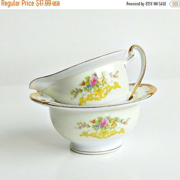 SALE Vintage China Cream & Sugar Set, Kikusui Fine Japanese China Cream and Sugar Set, Hand Painted Floral, Gilt Trim.