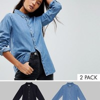 ASOS DESIGN denim shirt in washed black and midwash blue 2 pack save 14% at asos.com