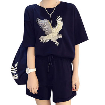 Women Sportsuit set 2 Pieces Summer Eagle Embroidery Tracksuit Women Clothing Tshirt Top + Shorts Female Leisure sportswear Suit