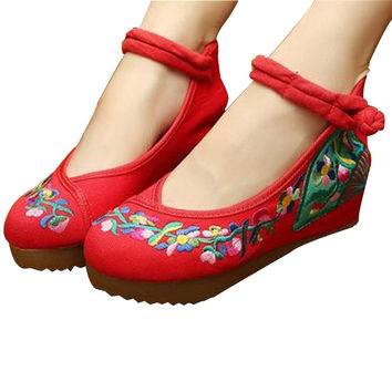 Traditional Embroidered Elevator Ballerina Chinese Mary Jane Shoes in Cotton Red Folding Fan Design