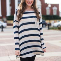 Stripe On By Top, Navy-Gray