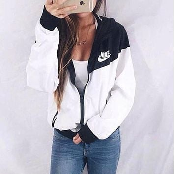 "Women ""NIKE"" Zip Hooded Sweatshirt Jacket Cardigan Coat Windbreaker"