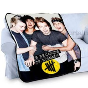 5 Seconds of Summer 5SOS Band Aussie pop rock Fleece Blanket Throw Gift -M