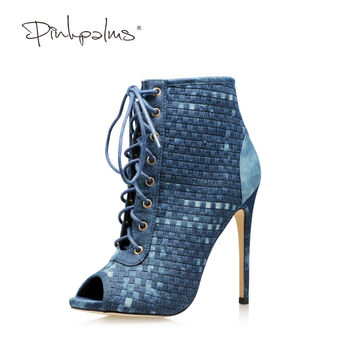 Pink Palms women shoes high heels  lace-up peep toe classics boots over the ankle leisure gingham dark blue denim sandals